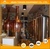 Linha de produção da cerveja com chaleira da fervura, erva-benta/Tun de Lauter, enchimento e arruela