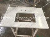 Bancada branca da cozinha da pedra de quartzo da cor