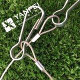Bride de câble métallique de solides solubles 304 avec le crochet mou de simplex d'oeil