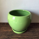 POT di ceramica del giardino rotondo verde pratico