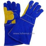 Guanto di rinforzo del lavoro dei guanti del saldatore dei guanti di cuoio della palma del doppio del pollice