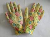 gants fonctionnants de sûreté enduite de jardin de nitriles de doublure de polyester de l'impression 13G (N011)