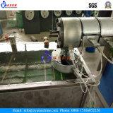 プラスチックロープのフィラメントの放出ラインおよびロープ編む機械