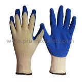 10 перчаток датчика желтых связанных Tc при голубая покрынная ладонь латекса Crinkle