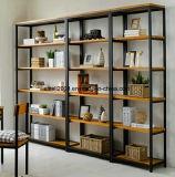 Weinlese-Metallrahmen-festes Holz-und Metallbuch-Regalsideboard-Buffet-Regal mit Türen