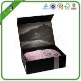 Rectángulo de regalo de empaquetado impreso negro de encargo al por mayor de la cartulina de papel rígida de la impresión