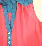 A forma das mulheres veste a camisa de polo frouxa Chiffon do poliéster com sarja de Nimes