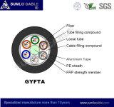 Cable de fibra óptica de la fuerza central del no metal FRP de Gyfta, blindaje de aluminio acanalado de la cinta