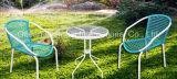屋外の藤の家具の籐椅子のコーヒーセット