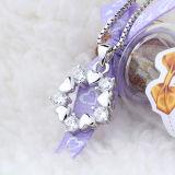 Цвести женщин ожерелья стерлингового серебра сердца привесного с цепью
