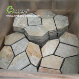 St-014 Yellow Wood Slate Crazy Meshed Paving Stone für Landscape