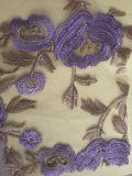 Tessuto 100% del merletto del taglio del laser del cotone del commercio all'ingrosso con la pietra ed i branelli Handmade