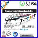 Couvertures noires de douille en verre de Tips&Optical de temple de lunettes de silicone