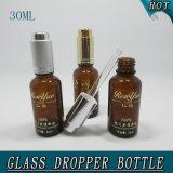 bottiglia di vetro del contagoccia della pompa di pressa dell'olio essenziale dell'ambra della colonna 30ml
