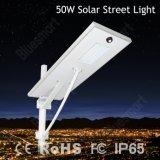 lâmpada ao ar livre toda da iluminação de 50W Soalr em uma luz solar do jardim da rua do diodo emissor de luz com 5 anos de garantia