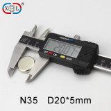 Neodym-Magnet-Fabrik-Preis Durchmesser-20X5mm zylinderförmiger