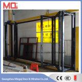 Prix en aluminium de porte de pli de Bi d'interruption thermique de finition noire dans Guangzhou