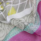 Scialle stampato seta personalizzato di 100% con ricamo (AMA170609-3)