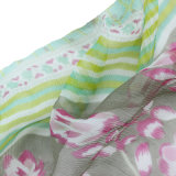 Custom Printed 100% Mulberry Silk Chiffon Crinkle Women Scarf (AMA170609-9)