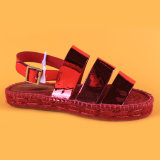 가장 새로운 디자인 PU 가죽 버클 결박 빨간 편평한 Espadrilles 샌들
