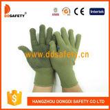Bamboo зеленые Nylon перчатки /Polyester с черным PVC ставят точки Dkp414