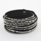 Couro de cristal dos braceletes da forma do melhor envoltório o mais atrasado por atacado do presente