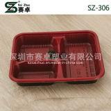 800ml engrossam a caixa plástica descartável do alimento de 3 compartimentos (SZ-306)