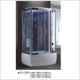 Cabine do chuveiro do retângulo com a prateleira com chuveiro superior e seis jatos/bocais