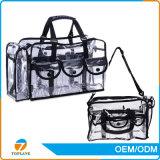 Organizador de maquiagem para viagens de grande capacidade de viagem Bolsa de cosméticos com PVC transparente com correia de ombro