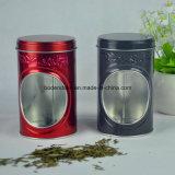 Caixa de empacotamento do estanho do chá redondo feito sob encomenda com indicador do PVC