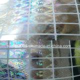 Contrassegno autoadesivo del laser di rettangolo dell'argento dell'autoadesivo su ordinazione dell'ologramma