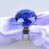 60mm blaue Kristallglas-Diamant-Metallserviette-Ring-Andenken