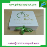 Rectángulo de joyería de empaquetado de papel plegable modificado para requisitos particulares del rectángulo de regalo del almacenaje de la cartulina rígida con la cinta de seda