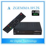 Mejor venta caliente H. Receptor Digital 265 / HEVC DVB-S2 + S2 gemelas Sab sintonizadores Zgemma H5.2s doble núcleo Linux OS E2
