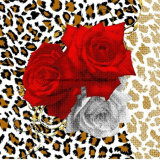 100% Poliéster Leopard Rose Series Pigment & Disperse Tecido impresso para conjuntos de cama