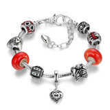 Vintage Love Heart Pendant com Red Murano Beads Braceletes e Bangles para Mulheres Jóias