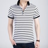 Camisa de polo tingida fio da listra da forma dos homens feitos sob encomenda