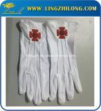 フリーメーソンの刺繍のロゴの白い綿の手袋