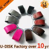 USB de moda del cuero del negro de la insignia del Silkscreen (YT-5116L1)