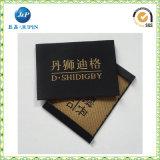 Étiquettes tissées par polyester à haute densité fait sur commande de logo d'or pour le vêtement (JP-CL153)