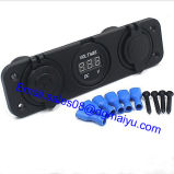 USB Flush Mount Socket de 12V Cigarette Lighter Plug+ Digital ampère Voltmeter Marine Car