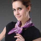 elegant Purple Silk Small Ms는 스튜어디스 스카프를 네모로 한다