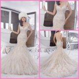 Vestidos de casamento frisados nupciais de conexão em cascata PA21502 do laço da sereia do vestido de casamento