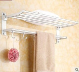 Wall Mounted registrabile Stainless Steel Bathroom Towel Shelf con Hooks