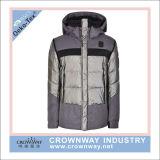 С капюшоном Melange краски пряжи серое греет проложенную куртку зимы для женщин