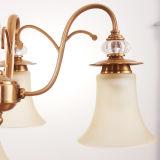Iluminação de vidro graciosa D-6108/5 do Lampshade do copo da lâmpada de cristal do pendente do candelabro
