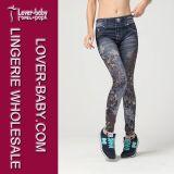 Medias ocasionales Pocket falsas impresas flor negra de los pantalones de Legging Legging de los pantalones vaqueros de imitación flacos para la mujer L97040