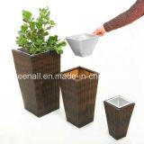 Pots de fleurs carrés en rotin pour extérieur