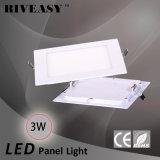 3W luz cuadrada de la luz del panel del acrílico LED LED con la luz del panel aislada Ce del programa piloto