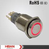 interruptor de tecla impermeável momentâneo iluminado do diodo emissor de luz 12V de 16mm anel vermelho com diodo emissor de luz